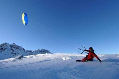 Кайт со сноубордом или горными лыжами